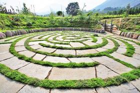 Bodenlabyrinth im Weingut Kränzel in Tscherms